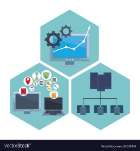 https://www.vectorstock.com/royalty-free-vector/set-computer-with-informatic-items-vector-24038376